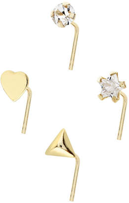 Bodifine 10K Gold Crystal and Shaped Nose Studs Set of 4