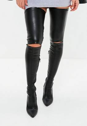 Missguided Black Slashed Over The Knee Boots