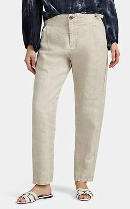 Pas De Calais Women's Garment-Dyed Linen Tapered Trousers - Beige, Tan