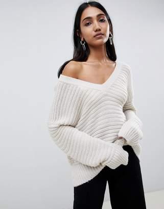 Asos DESIGN sweater in off shoulder v-neck with stitch detail