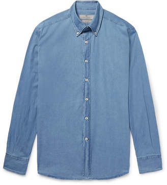 Canali Button-Down Collar Stretch-Cotton Chambray Shirt