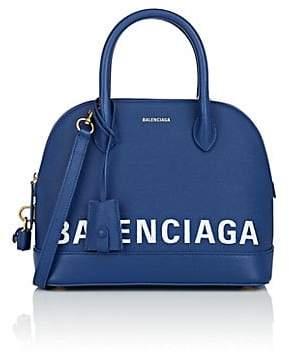Balenciaga Women's Ville Small Leather Bowling Bag - Blue