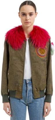 Mr & Mrs Italy Mr&mrs Italy Waxed Cotton Blend Bomber Jacket W/ Fur
