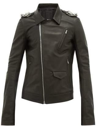 Rick Owens Stooges Chain Trimmed Leather Biker Jacket - Mens - Black