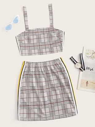 72bba9fd6 Shein Tartan Plaid Side Stripe Cami Top With Skirt