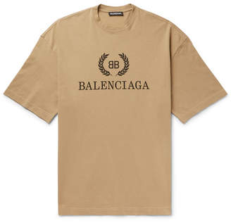 Balenciaga Logo-Print Cotton-Jersey T-Shirt - Men - Beige