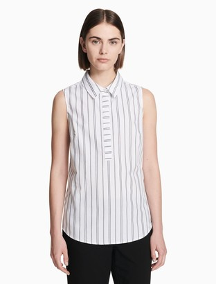 Calvin Klein striped sleeveless button down shirt