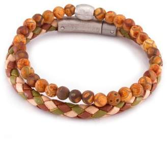 März The Sand Rust Multi Colored Woven Leather & Beaded Stone Band Set - Set of 2