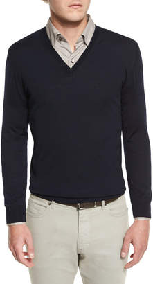 Ermenegildo Zegna High-Performance Merino Wool V-Neck Sweater, Navy