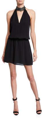 Ramy Brook Raelyn Embellished Halter Short Dress