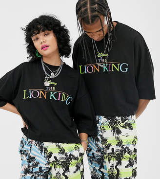 Asos Design Disney The Lion King x DESIGN unisex oversized cropped t-shirt with rainbow logo