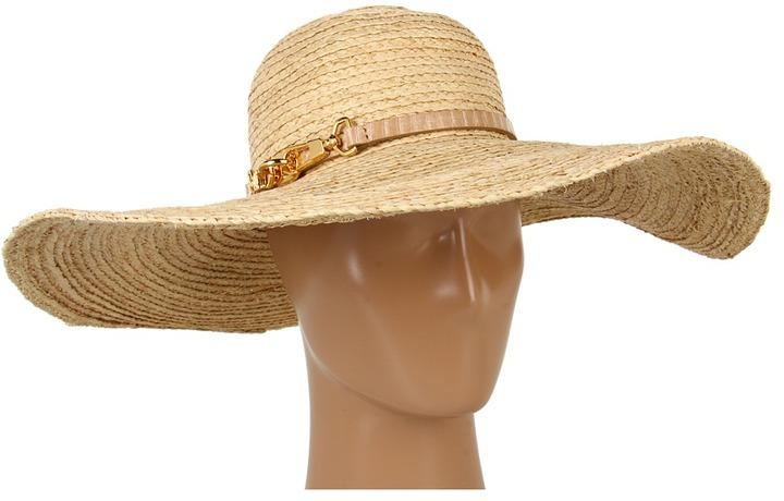 Rachel Zoe Straw Brim Hat With Belt (Natural) - Hats