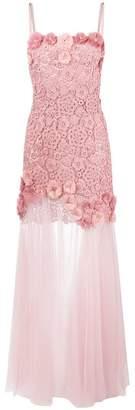 Anna Molinari floral embellished sheer evening dress