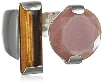 Wouters & Hendrix Women's 925 Sterling Silver Sunstone and Tiger Eye Ring - Size - O