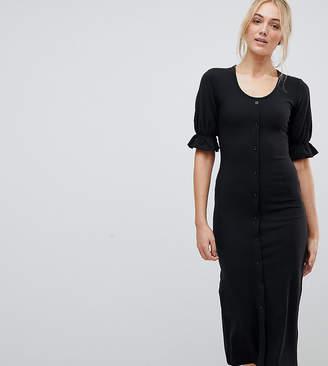 Fashion Union Tall Bodycon Scoop Neck Button Front Midi Dress