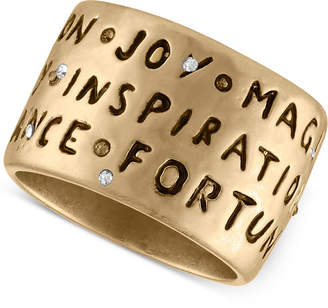 Rachel Roy Gold-Tone Etched Inspirational Ring