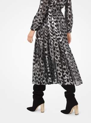 MICHAEL Michael Kors Scalloped Silk Jacquard Skirt