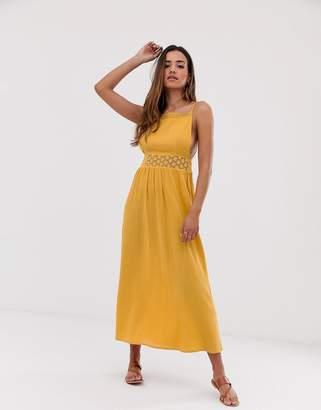 Asos Design DESIGN lace insert crinkle maxi dress