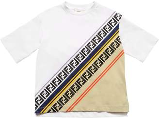 Fendi Logo Print Cotton Jersey T-Shirt