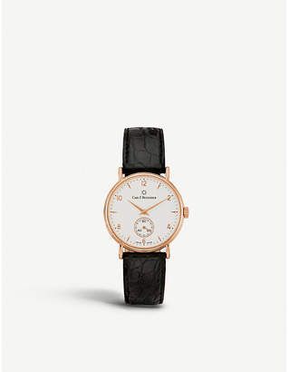 Rosegold CARL F BUCHERER 00.10305.03.26.01 Adamavi rose-gold sapphire crystal and leather watch