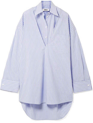 Official Site For Sale Buy Cheap Lowest Price Maison Margiela Woman Appliquéd Striped Cotton-poplin Shirt Azure Size 40 Maison Martin Margiela TWjHsI7x
