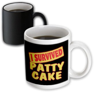 3dRose I Survived Patty Cake Survial Pride And Humor Design, Magic Transforming Mug, 11oz