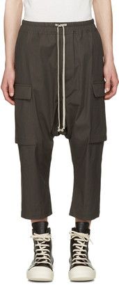 Rick Owens Grey Cropped Drawstring Cargo Trousers $660 thestylecure.com