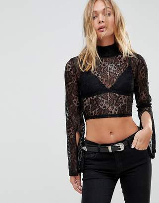 MinkPink Damsel Lace Top With High Neck And Split Sleeves