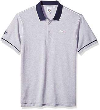 Lacoste Men's Short Sleeve Pique with Contrast Piping and Collar Polo