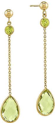 FINE JEWELRY Genuine Green Peridot and Heat-Treated Green Quartz 14K Yellow Gold Drop Earrings