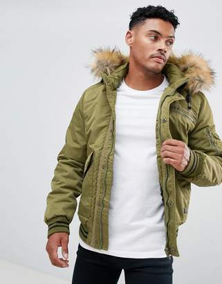Blend faux fur hooded bomber jacket
