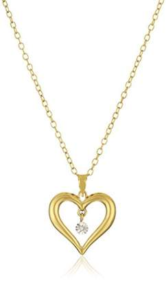 14k Gold Plated Sterling Silver Diamond-Accent Heart Pendant Necklace
