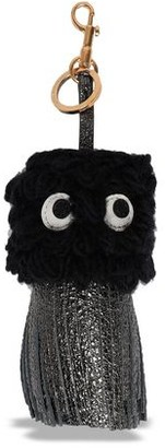 Anya Hindmarch Embellished Wool And Metallic Leather Keychain