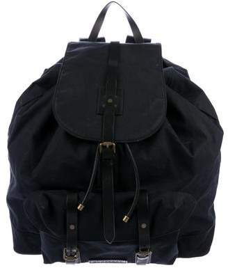 Burberry Leather-Trimmed Canvas Backpack