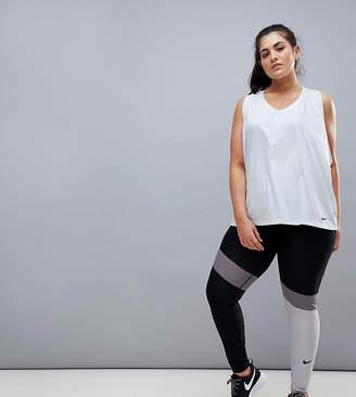 Asos Nike Training Nike Plus Training Power Leggings In Grey Colourblock