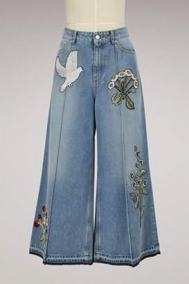 Alexander McQueen Embroidered Denim Culottes