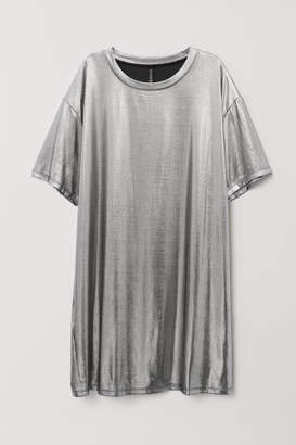 H&M Coated T-shirt Dress - Silver