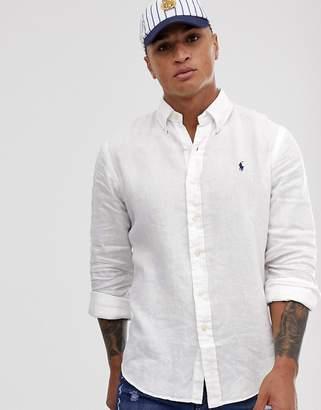 d8fc79dcf5da Polo Ralph Lauren player logo pocket linen shirt custom regular fit in white