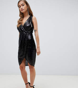 6b88b075f5174 TFNC Petite Petite sequin wrap mini dress in black