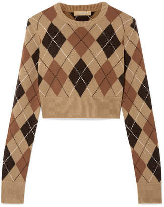 Michael Kors Cropped Argyle Cashmere Sweater - Brown