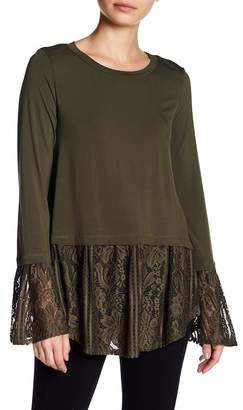 Dual Nature Peplum Long Sleeve Lace Detail Shirt