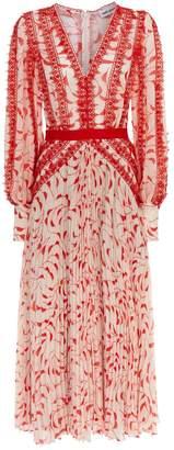 Self-Portrait Crescent Print Chiffon Dress