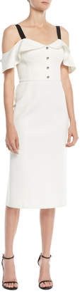 Jason Wu Cold-Shoulder Crepe Sheath Cocktail Dress