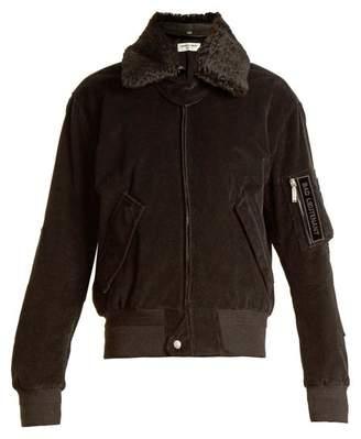 Saint Laurent Shearling Collar Cotton Corduroy Jacket - Womens - Black