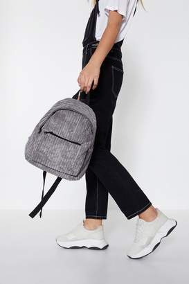 Nasty Gal Grey Cord Detail Back Pack