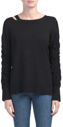 Knit Sweater With Ruched Sleeves