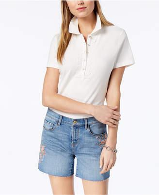 Tommy Hilfiger Lace-Trim Pique Polo Shirt