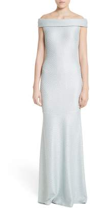 St. John Hansh Sequin Knit Off the Shoulder Gown