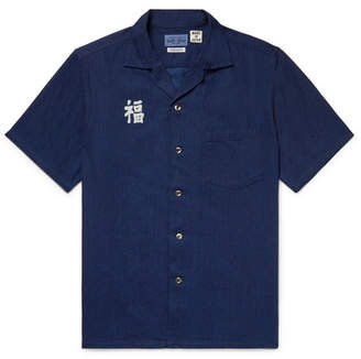 Blue Blue Japan Camp-Collar Indigo-Dyed Printed Cotton Shirt