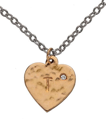 GK Designs Gold Initial Heart Charm Necklace